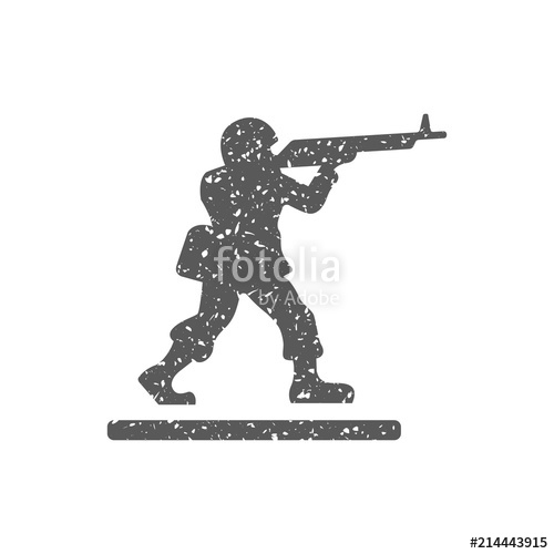 500x500 Toy Soldier Icon In Grunge Texture. Vintage Style Vector