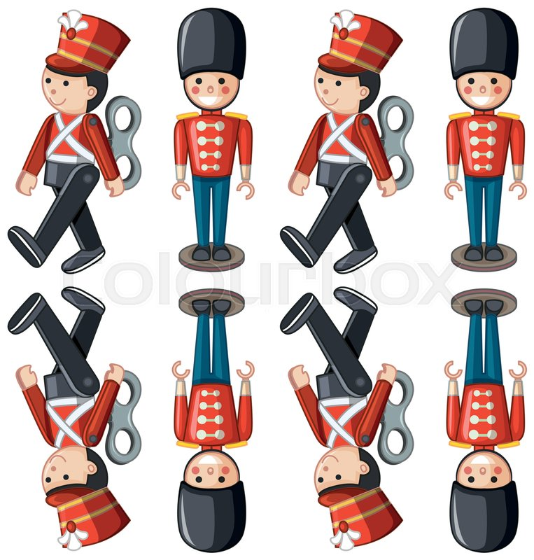 763x800 Toy Soldiers In Different Positions Illustration Stock Vector