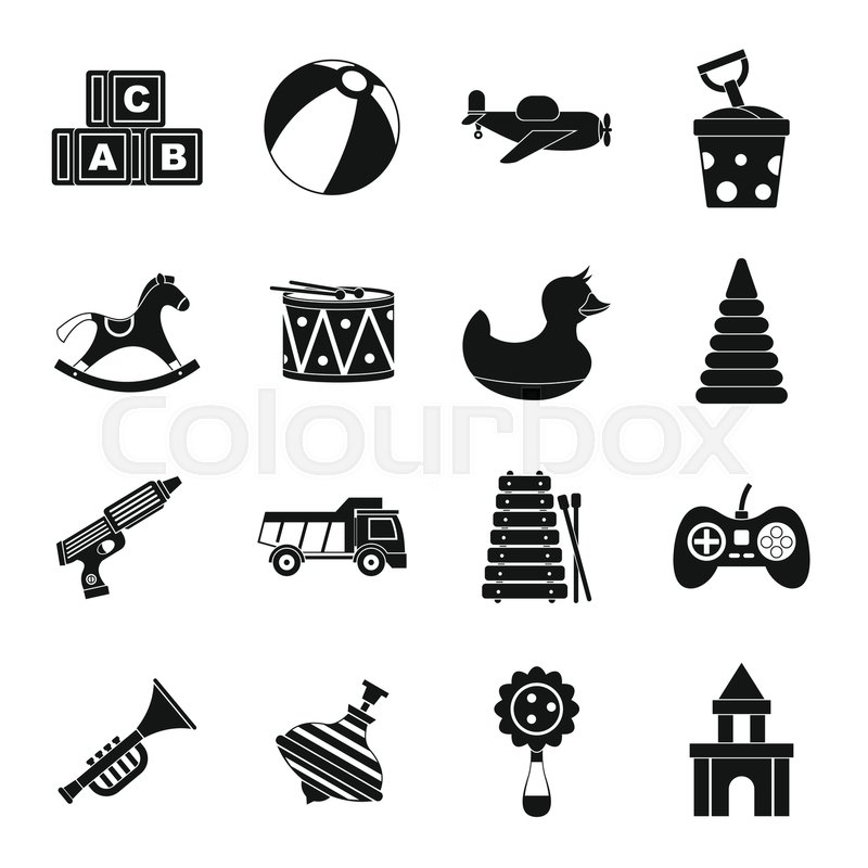 800x800 Different Kids Toys Icons Set. Simple Illustration Of 16 Different