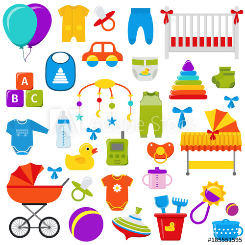 500x500 Baby Toys. Vector Graphics. Baby Shower Elements. Set Kids Icons