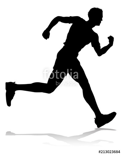 395x500 Runner Racing Track And Field Silhouette Stock Image And Royalty