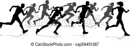 450x163 Runners Race Track And Field Silhouettes. Silhouette Runners In A