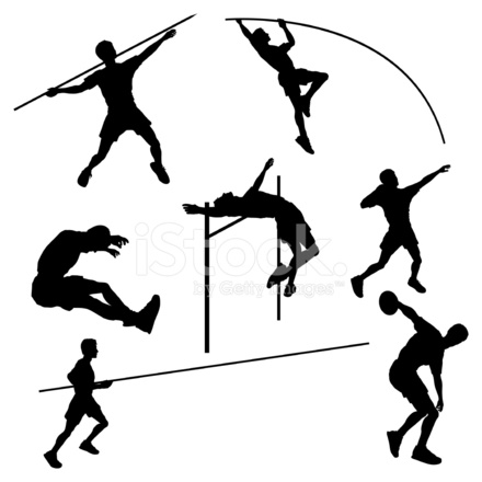 440x440 Track And Field Silhouette Collection Stock Vector