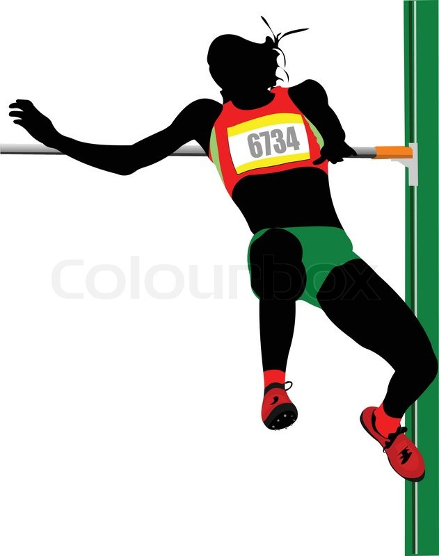 631x800 Woman High Jumping Track And Field Vector Illustration Stock