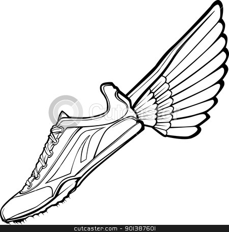 450x454 Track Shoe With Wing Vector Illustration Stock Vector