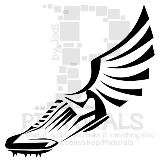 570x563 Track Winged Shoe Clipart Eps File Vector And Jpeg Png Etsy