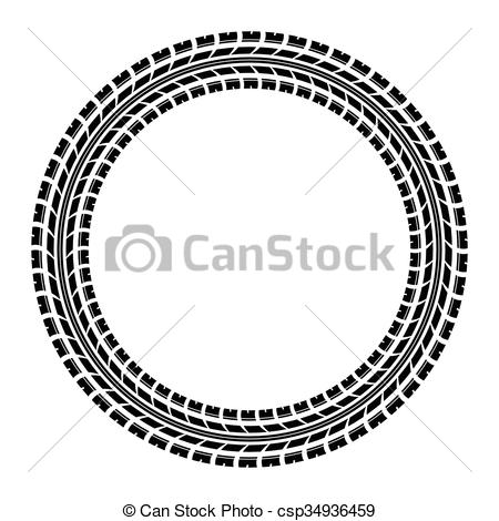 450x470 Circle Tire Track. Black Tire Track Silhouette In Circle. Eps10.