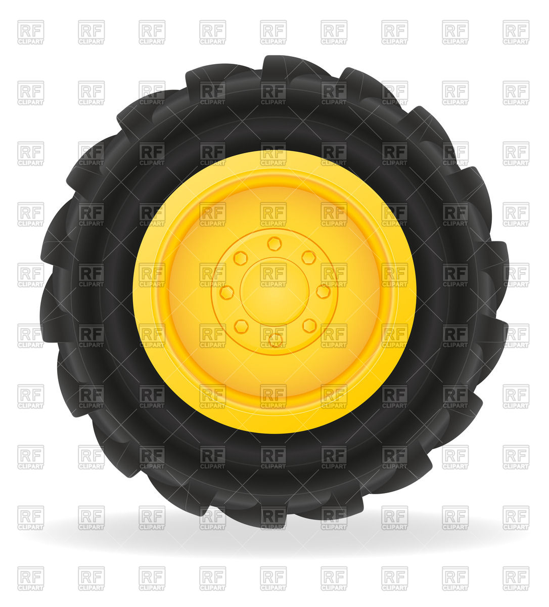 1086x1200 Tractor Wheel With Grooved Tire Casing Vector Image Vector