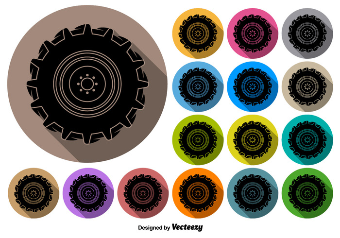700x490 Vector Buttons Of Black Tractor Tire Icon Free Icon Packs Ui