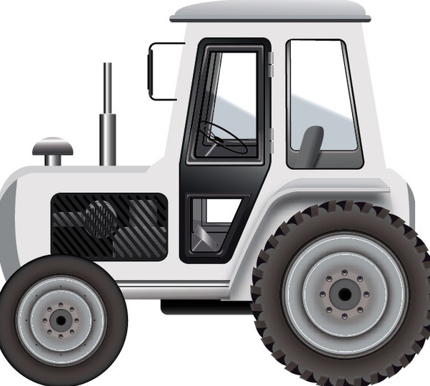 602x541 White Tractor Free Vector Download 340461 Cannypic