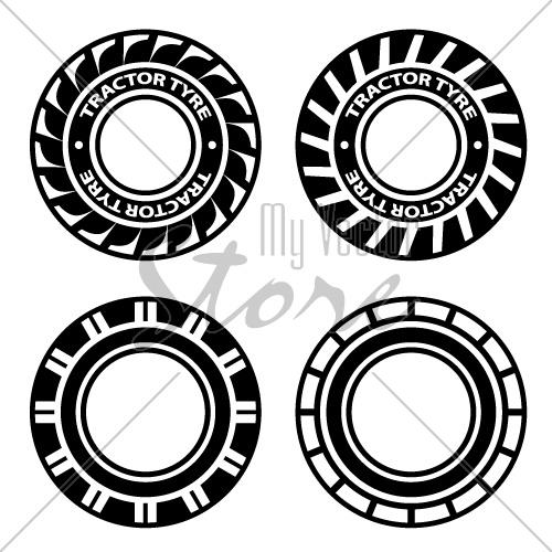 500x500 Vector Black Tractor Tyre Symbols
