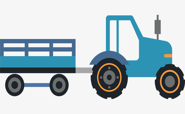 650x400 Tractor Trailer, Tractor Vector, Blue, Flat Png And Vector For