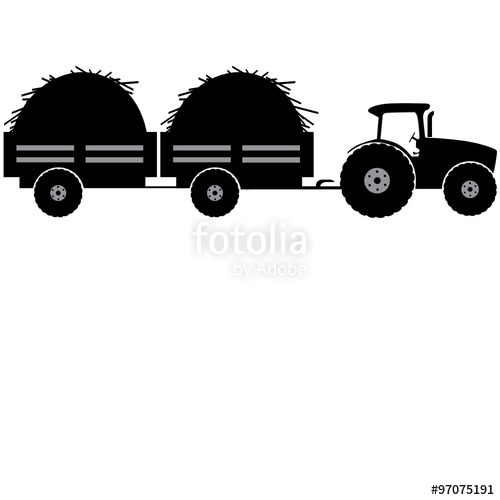 500x500 Tractor With Two Trailer Silhouette Vector Illustration Isolated