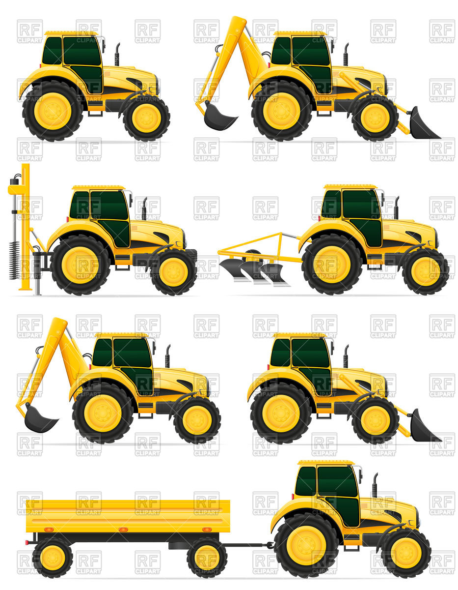933x1200 Wheeled Tractor Side View With Pile Driver, Trailer And Plow