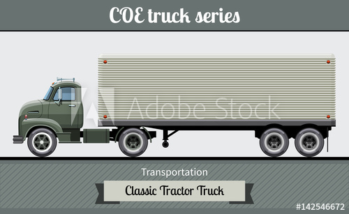 500x307 Classic Coe (Cab Over Engine) Tractor Trailer Truck Side View