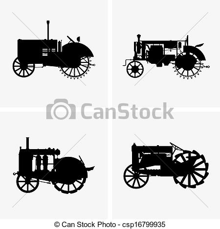 450x470 Old Tractors. Set Of Four Old Tractor Icons.