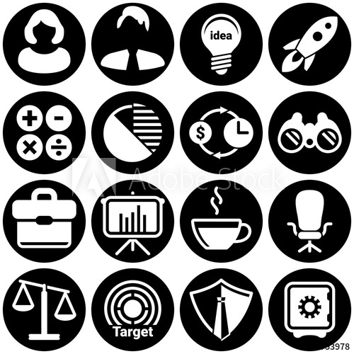 500x500 Set Of Simple Icons On A Theme Businessman, Business Woman