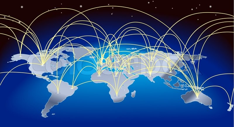 800x435 A World Map Background With Flight Paths Or Trade Routes Stock