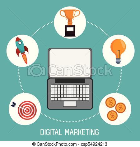 450x470 Digital Marketing Finance Business Trade Vector Illustration Eps 10.