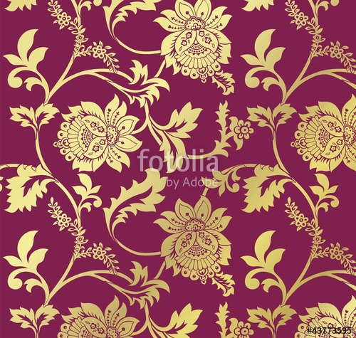 500x475 Traditional Floral Pattern, Textile Design, Royal India Stock