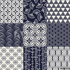 236x236 Seamless Vector Pattern Set. Traditional Japanese Ornamental