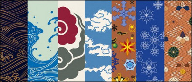 626x268 Traditional Japanese Pattern Vector Material Weather Changes
