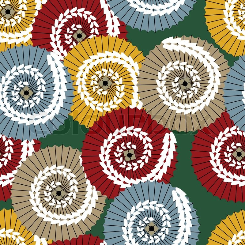800x800 Vector Japanese Pattern With Traditional Umbrellas Stock Vector