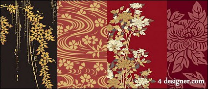 425x182 4 Designer Japanese Traditional Pattern Vector Material