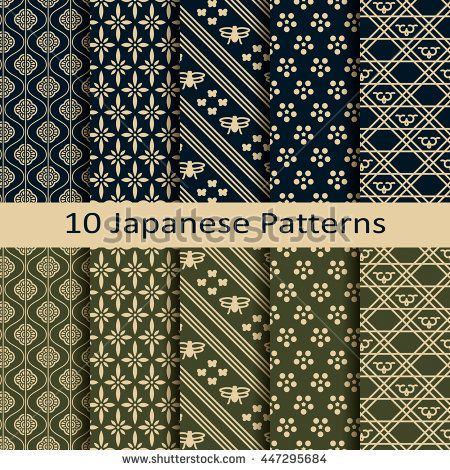 450x470 Set Of Ten Seamless Vector Traditional Japanese Patterns