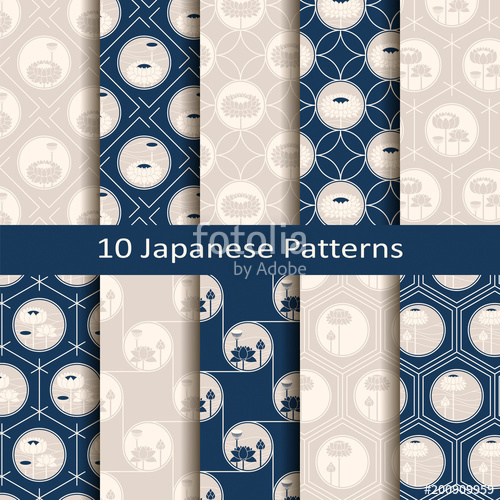 500x500 Set Of Ten Seamless Vector Traditional Japanese Patterns With