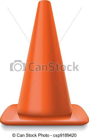 304x470 Traffic Conerealistic Striped Traffic Cone Illustration On White