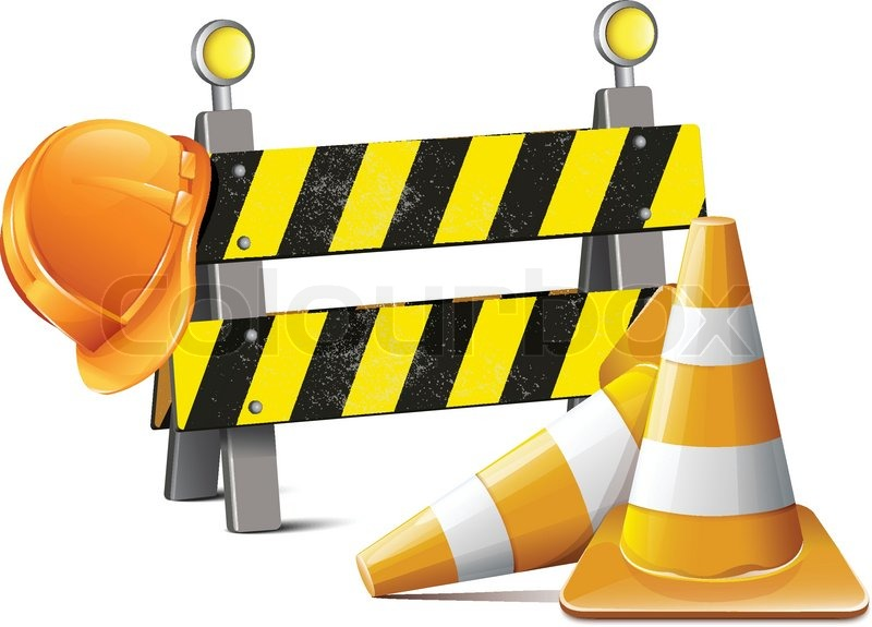800x575 Road Barrier With Hard Hat And Traffic Cone Stock Vector Colourbox