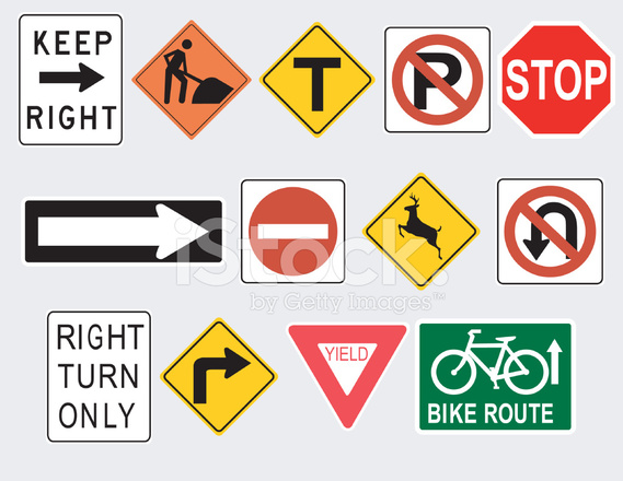 569x440 Common Road And Traffic Signs (Vector) Stock Vector