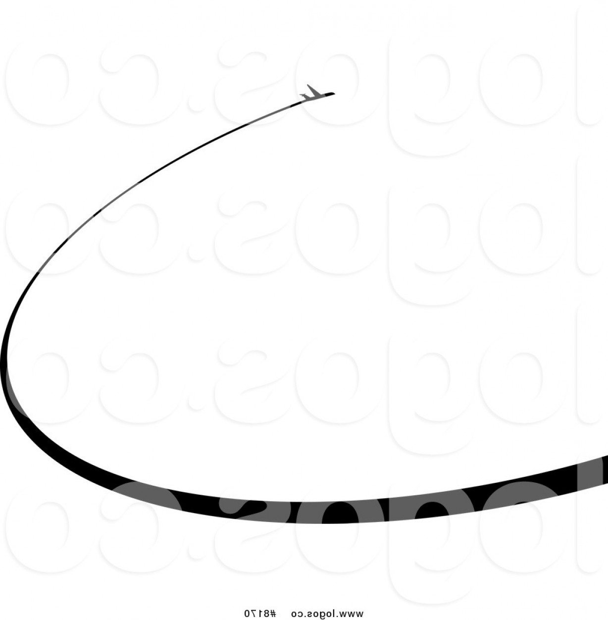 1228x1252 Royalty Free Vector Of A Black Airplane And Curved Chem Trail Logo