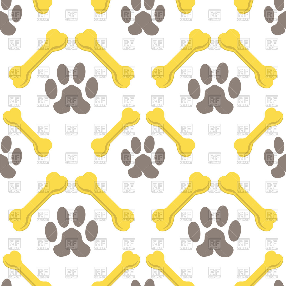 1200x1200 Seamless Pattern With Yellow Bones And Brown Dog Trail Vector