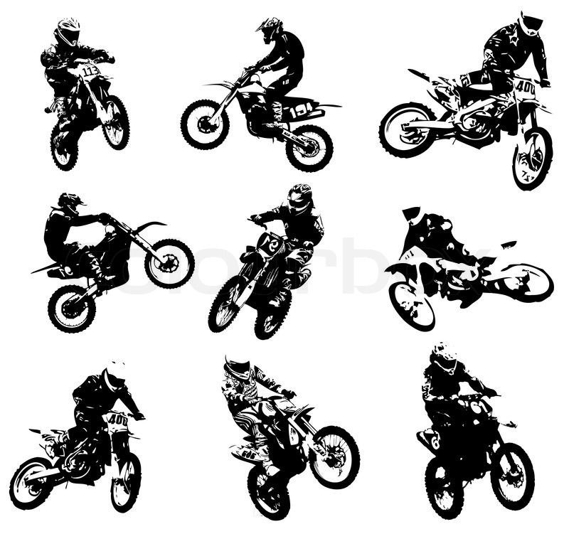 800x751 Silhouettes Of Motorcyclists Stock Vector Colourbox