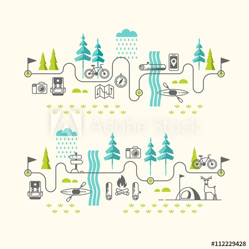500x500 Summer Vacation In Nature. Hiking Trail. Vector Concept