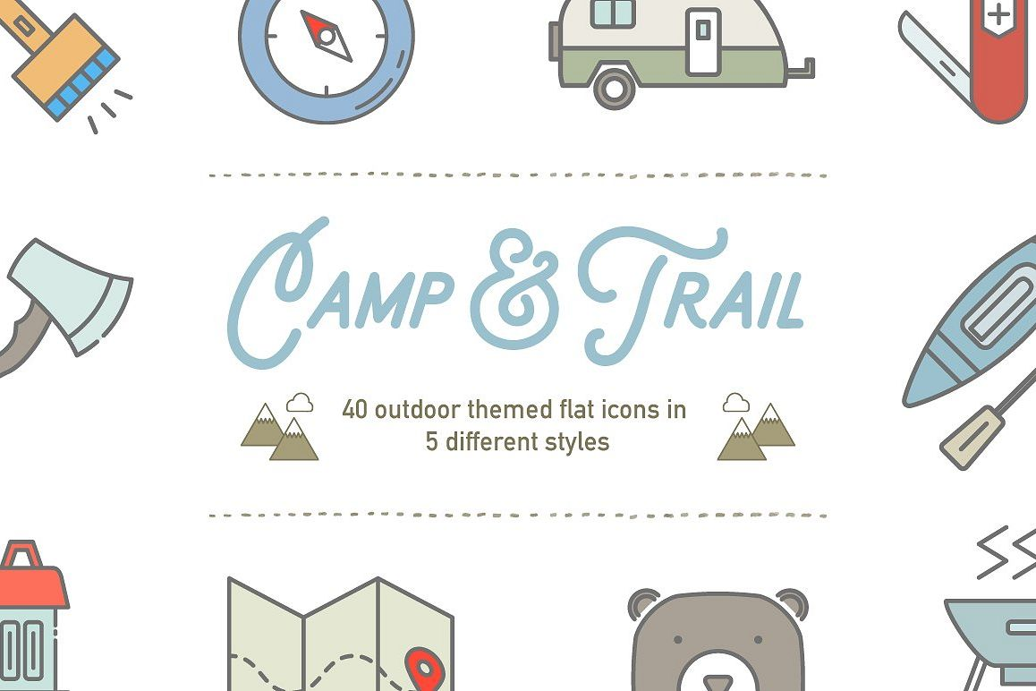 1158x772 Camp Amp Trail Vector Recreation Icons