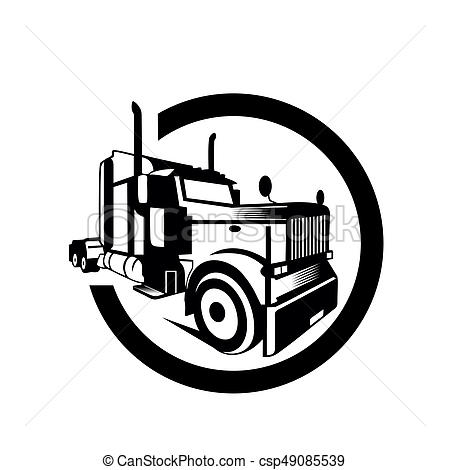 450x470 Truck Cargo Container Trailer Vector Illustration,white Background