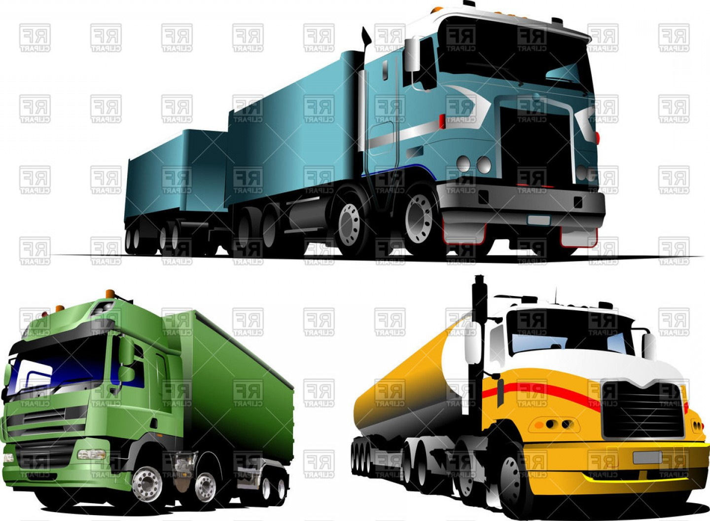 1440x1056 American Gas Tank Truck And European Cargo Truck With Full Trailer