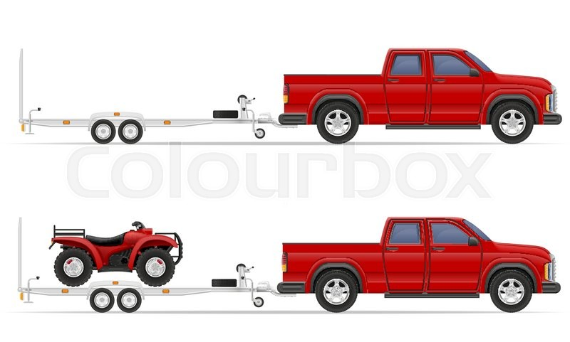 800x481 Car Pickup With Trailer Vector Illustration Isolated On White