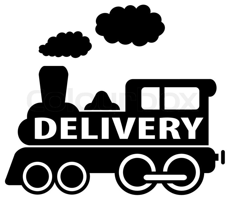 800x697 Isolated Delivery Train Icon On White Background Stock Vector