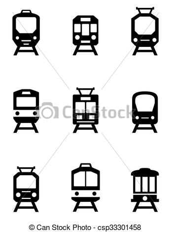 347x470 Set Of Train Icons. Set Of Black Train Icons For Passenger