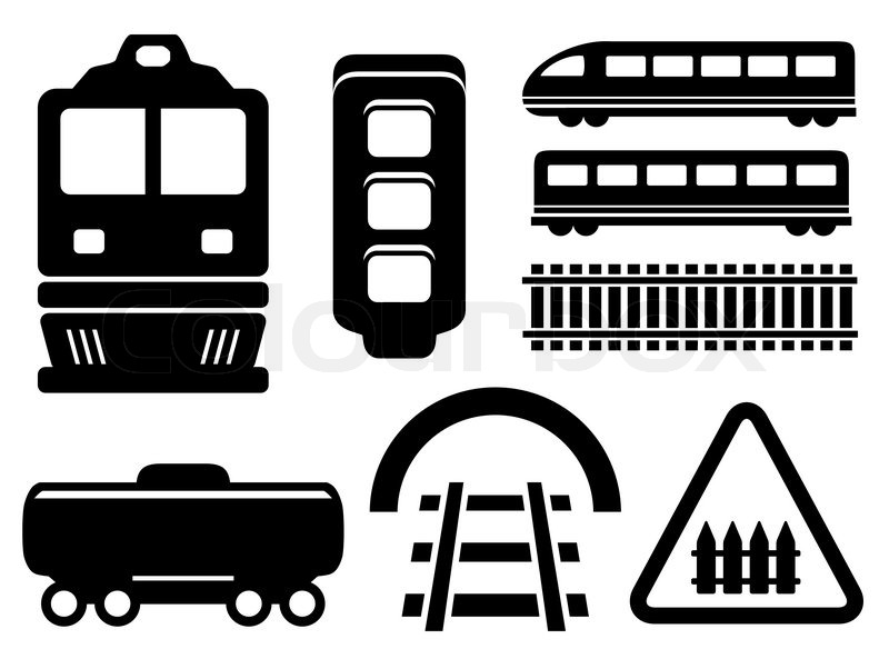 800x593 Black Isolated Objects For Rail Road Icons Set Stock Vector