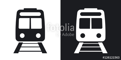 500x250 Vector Train Icon. Two Tone Version On Black And White Background