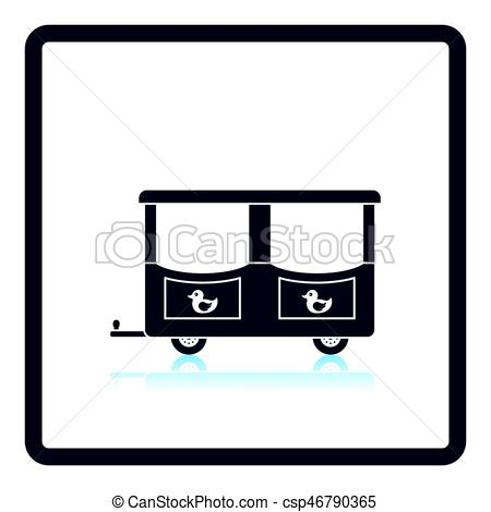 450x470 Wagon Of Children Train Icon. Shadow Reflection Design. Vector