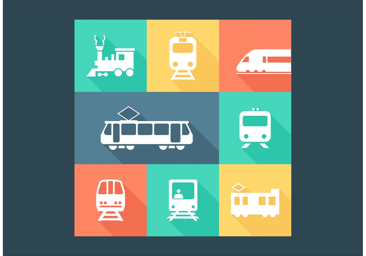 1400x980 Free Railway Transportation Vector Icons