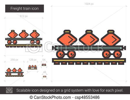 450x344 Freight Train Line Icon. Freight Train Vector Line Icon Isolated