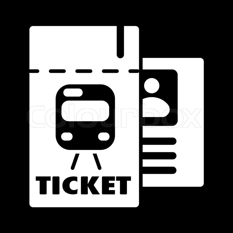 800x800 Train Ticket , Vector Icon. Isolated On Black Background. Eps 10