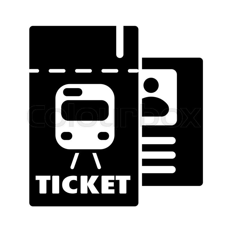 800x800 Train Ticket , Vector Icon. Isolated On White Background. Eps 10